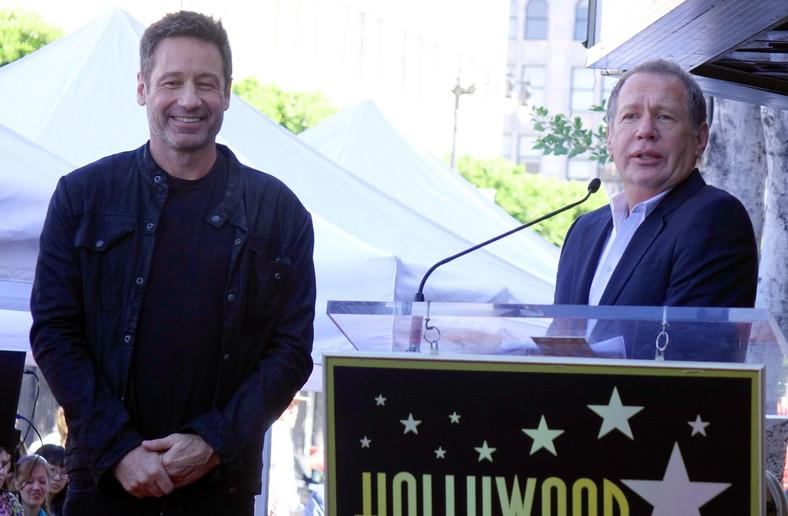 David Duchovny i Garry Shandling podczas uroczystości w Alei Sław