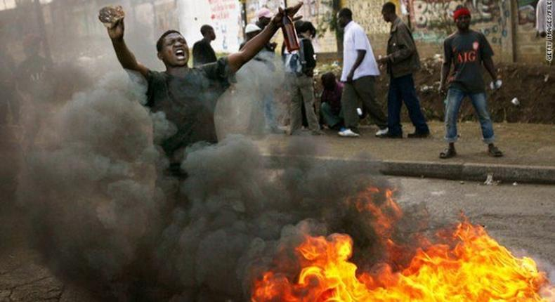 A chaotic scene in Kenya during 2007/08 post election violence