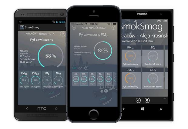SmokSmog - jedna z aplikacji, podających wyniki pomiarów szkodliwych substancji w powietrzu