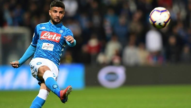 Napoli's Italian forward Lorenzo Insigne scored his eighth league goal this season
