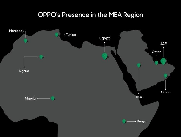 OPPO has a presence in the Kenya, United Arab Emirates, Qatar, Kingdom of Saudi Arabia, Oman, Morocco, Tunisia, Egypt, Algeria and Nigeria.