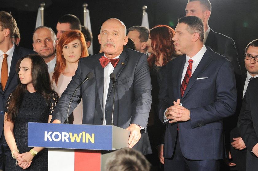 Janusz Korwin-Mikke i działacze jego partii