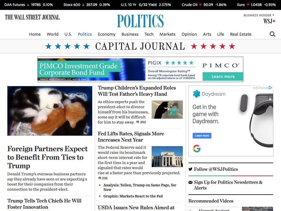The Wall Street Journal: Zagraniczni partnerzy oczekują korzyści z wygranej Trumpa