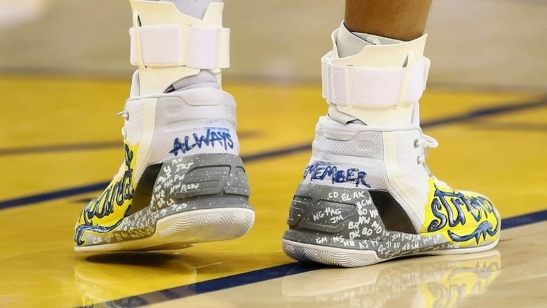 A close-up of the shoes that Stephen Curry of the Golden State Warriors wore during their game against the New York Knicks, in Oakland, California, on December 15, 2016