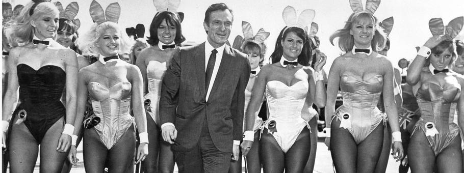 A bevy of bunny girls met Hugh Hefner at