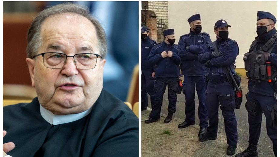 O. Tadeusz Rydzyk i policjanci przed budynkiem sądu w Toruniu