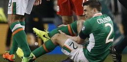 Koszmarny faul w meczu Irlandia - Walia. Seamus Coleman ze złamaną nogą