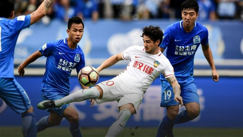 Alexandre Pato (C) in the Chinese Super League, playing for the team formerly known as Tianjin Quanjian