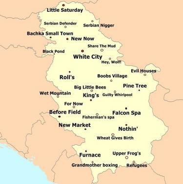 karta srbije sa gradovima selima Neko je napravio urnebesnu mapu Srbije sa imenima gradova  karta srbije sa gradovima selima