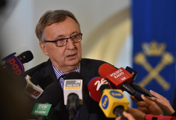 Rektor Uniwersytetu Jagiellońskiego prof. Wojciech Nowak podczas konferencji w Krakowie