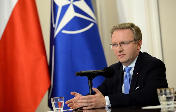 Sekretarz stanu w Kancelarii Prezydenta Krzysztof Szczerski podczas konferencji prasowej