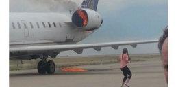 Chwile grozy na lotnisku. Samolot stanął w płomieniach