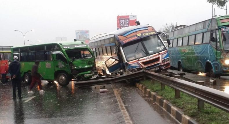 Nasty pile-up accident involving 6 cars at Muthaiga along Thika Road