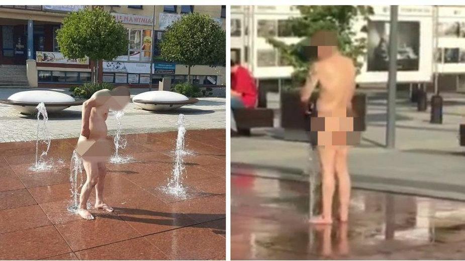 Golas w fontannie w Szczecinku! Umył się i zrobił pranie