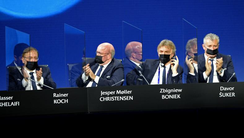 Rainer Koch, Jesper Moller Christensen, Zbigniew Boniek i Davor Suker