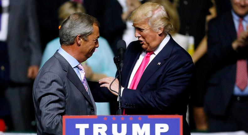 Nigel Farage on the campaign trail alongside President Trump.