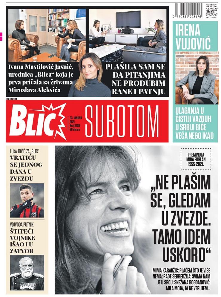 Naslovna za 23.1.2021. Blic