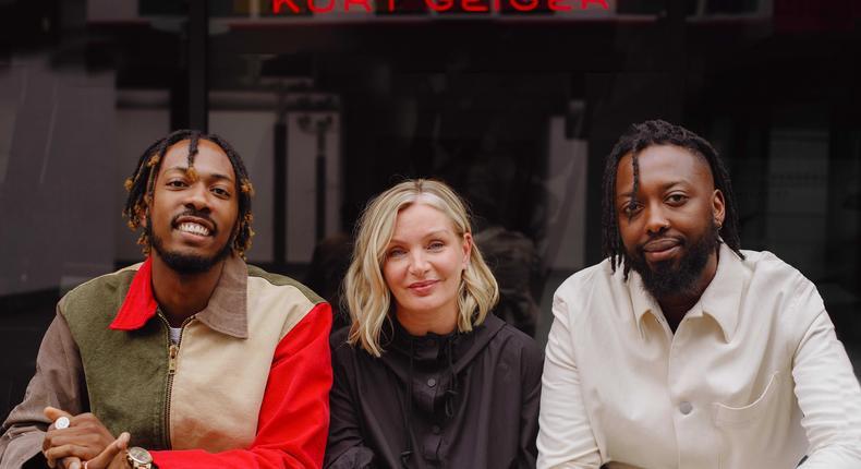 GUAP'S founders: Jide Adetunji (left) and Ibrahim Kamara (right), with Kurt Geiger's chief creative officer, Rebecca Farrar-Hockley.