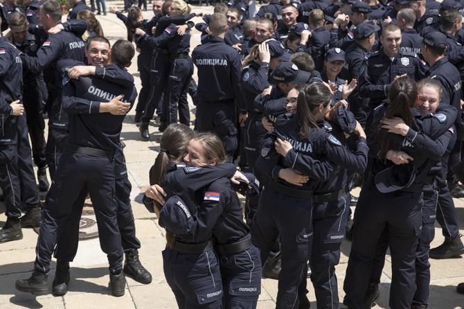 Policijska vežba ispred Palate Srbija