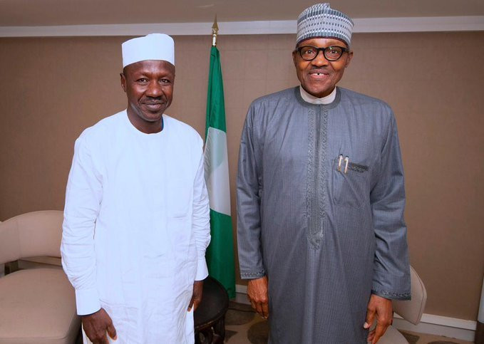 Ibrahim Magu (left) with President Muhammadu Buhari (right) [EFCC]