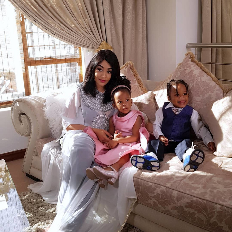 Zari Hassan with her Kids Nillan and Tiffah. Zari's caption on her daughters photo has raised Eyebrows