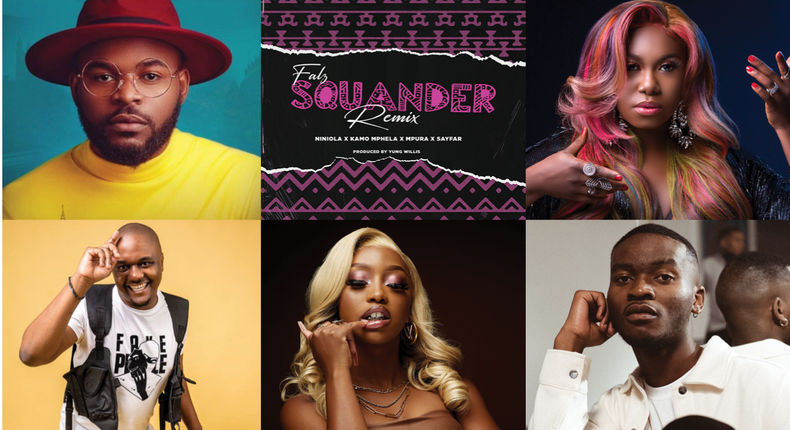 Falz features Niniola and South Africa's Amapiano sensations, Kamo Mphela, Mpura and SayFar on 'Squander (Remix).' (Bhad Guys)