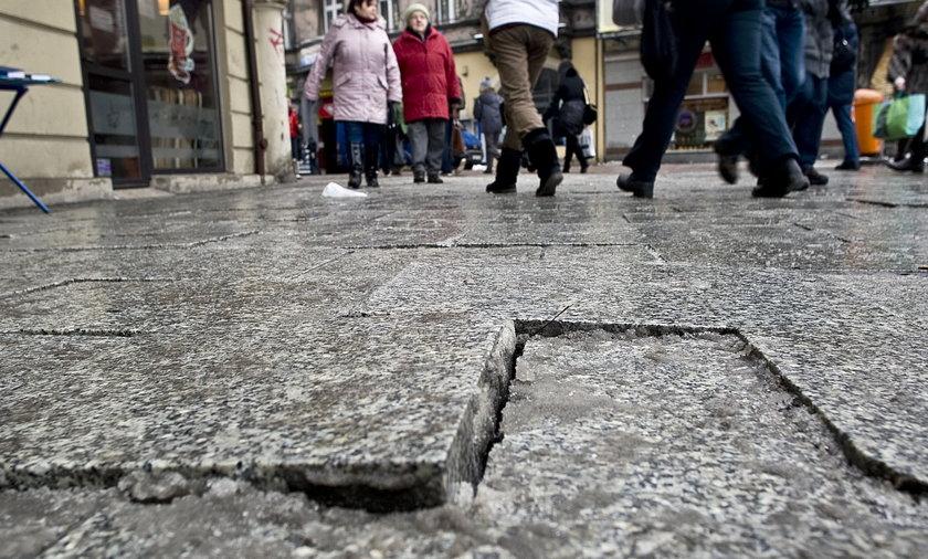 dziurawe chodniki w Katowicach