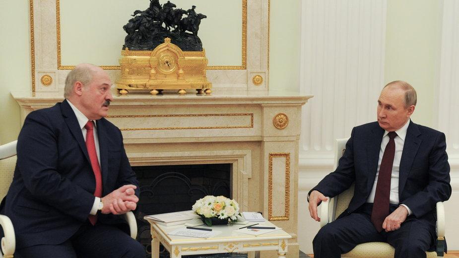 Aleksander Łukaszenko podczas spotkania z Władimirem Putinem w Moskwie