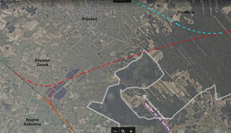plan linii kolejowej przez Puszczę Knyszyńską