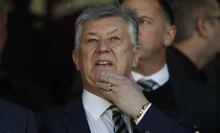 Celtic Chief Executive Peter Lawwell in the stands before the match