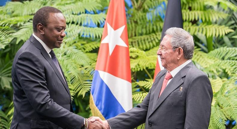 President Uhuru Kenyatta shakes hands with Cuban President Raul Castro in Cuba on March 15, 2019. KMPDB may not license 48 doctors studying in Cuba due to curriculum differences