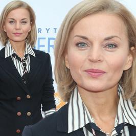 """Małgorzata Foremniak zachwyciła na konferencji serialu """"W rytmie serca"""". Co za spodnie!"""