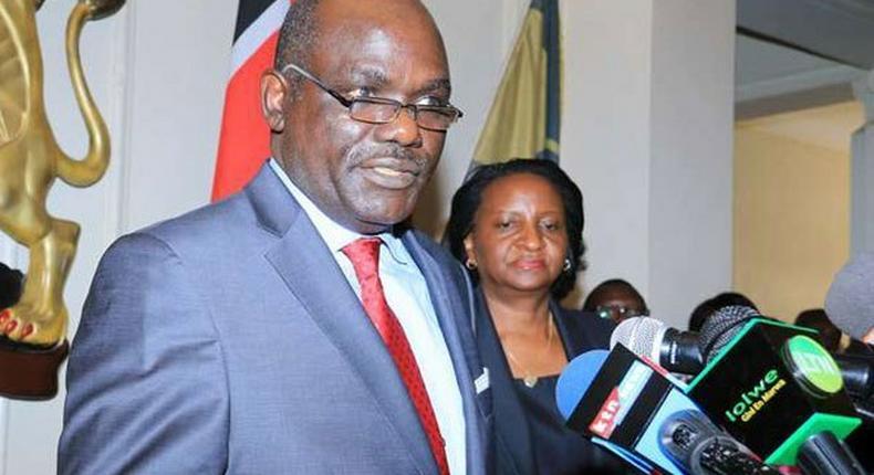 File image of former IEBC Chairman Wafula Chebukati taking the oath of office