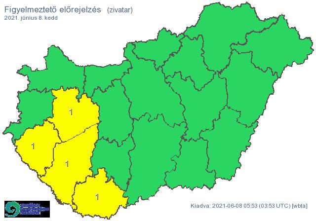 Pécs, Kaposvár, Veszprém, Zalaegerszeg környékén élők este zivatarra számíthatnak /Fotó: met.hu