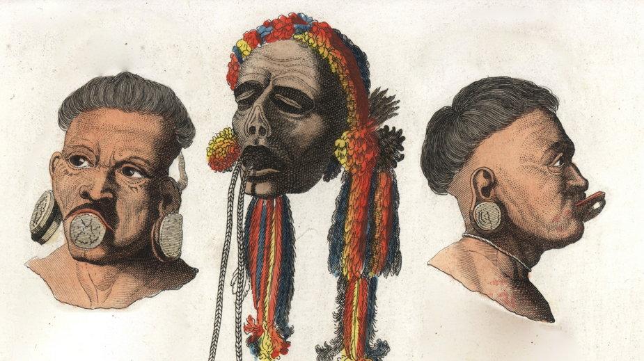 Indianie Botocudo z Brazylii i zmniejszona głowa