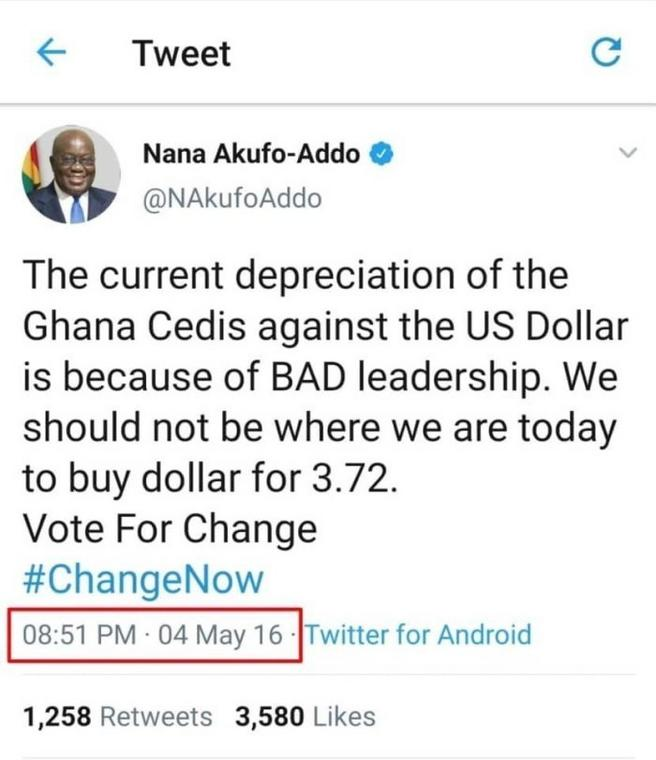 Tweet by Nana Addo in 2016