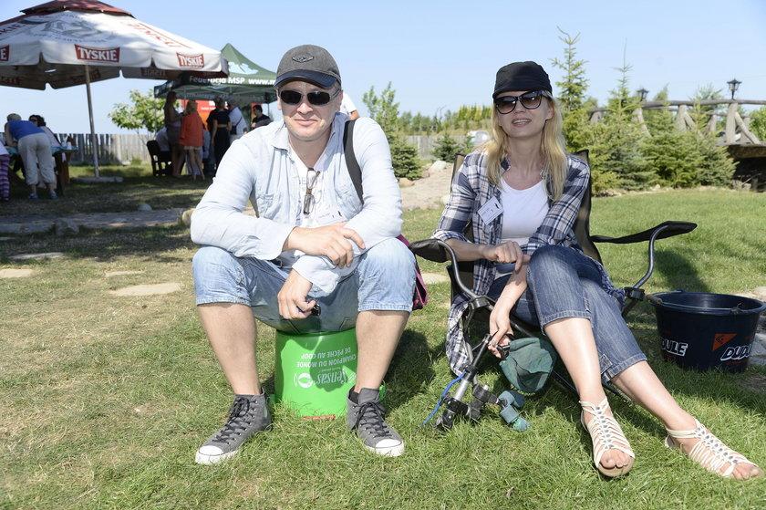 Olga Borys i Wojciech Majchrzak na zawodach w łowieniu ryb