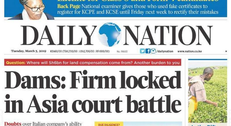 Front page of Daily Nation on March 5, 2019 when they published a strange obituary on Syrian boy Omran Daqneesh