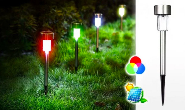 Deset solarnih INOX lampi u boji