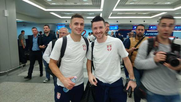 Dušan Tadić i Antonio Rukavina pred poletanje za Podgoricu
