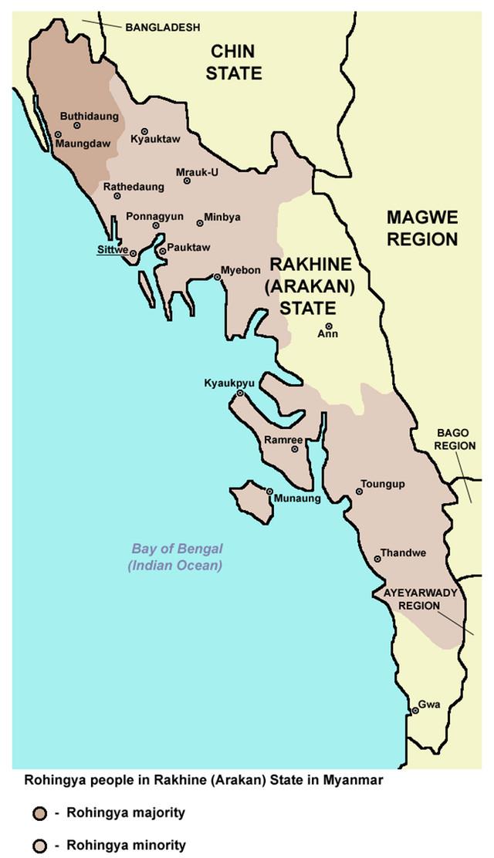 Mapa provincije Rahine u severozapadnom Mjanmaru. Rahinđa narod živi u velikoj većini u oblastima obeleženoj tamno braon bojom. Svetlo braon bojom obeležene su oblasti gde su Rahinđe u manjini.