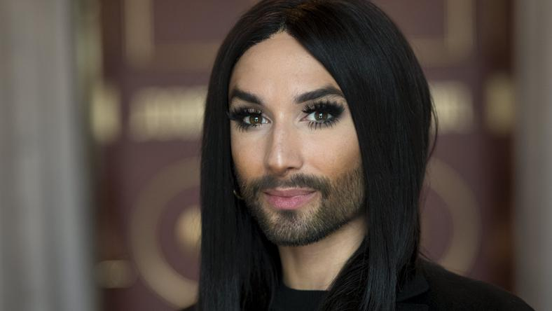 Austrian singer Conchita Wurst poses during a press meeting in Stockholm
