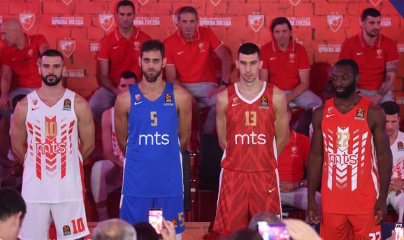 Četiri garniture dresova KK Crvena zvezda za sezonu 2019/2020