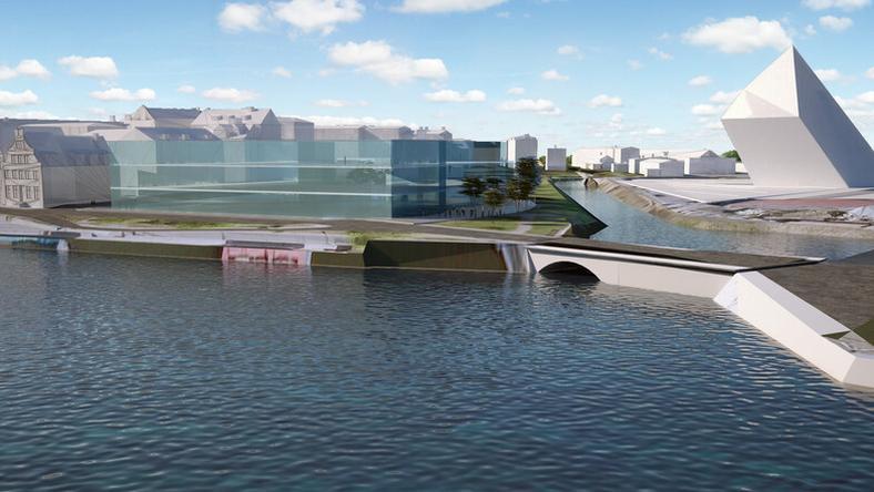 W czerwcu urzędnicy przedstawili wstępny zarys kubatury, w której może się zawrzeć budynek Muzeum Gdańska (obok widać budynek MIIWŚ)