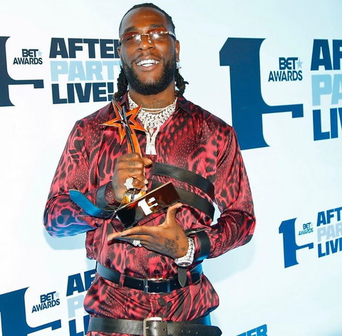 Burna Boy is the Best International act in 2019 at the 19th BET Awards. [Instagram/MTVBaseAfrica]