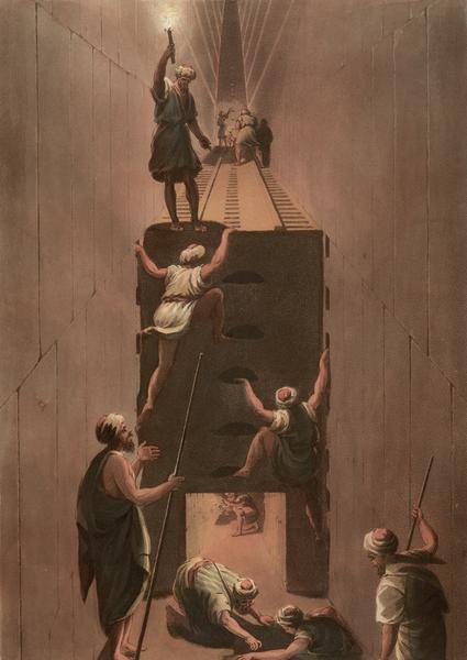 Przejście z drugiej na trzecią galerię w piramidzie Cheopsa w Gizie. Trasę tę prawdopodobnie pokonał też Mikołaj  Krzysztof Radziwiłł, grafika Thomasa Miltona z 1802 roku.