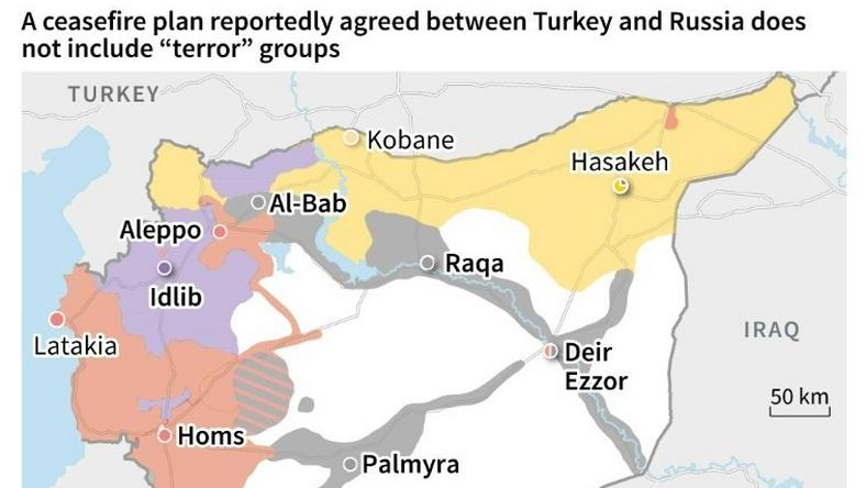 Map of Syria showing which fighting force controls which area, following reports of a ceasefire