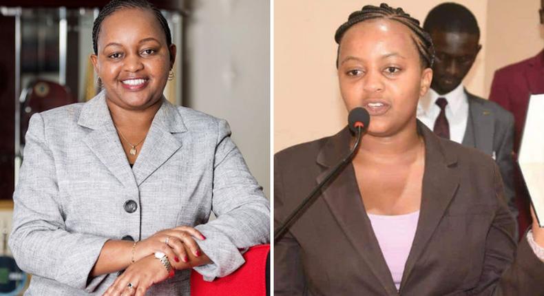 Kirinyaga Governor Anne Waiguru and her look alike Anne Mwangi Mvurya (Courtesy)