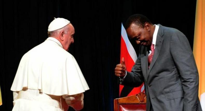 Pope Francis with President Uhuru Kenyatta