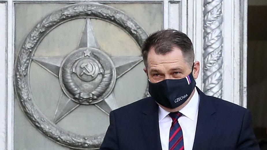 Na zdjęciu ambasador Czech opuszczający rosyjskie MSZ. Moskwa, 22.04.2021 r.